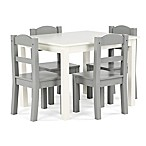 Tot Tutors 5-Piece Wooden Table and Chairs Set in White/Grey