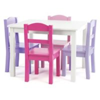 Tot Tutors 5-Piece Wooden Table and Chairs Set in White/Purple/Pink