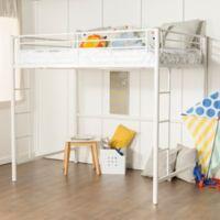 Walker Edison Sunset Full Loft Bed Over Workstation in White