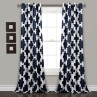 Lush Décor Wellow Ikat 84-Inch Grommet Room Darkening Window Curtain Panel Pair