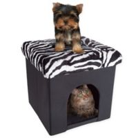 PETMAKER House Ottoman Pet Cube in Zebra