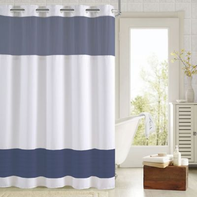 HooklessR Aruba Pleats Color Block Shower Curtain In White Navy