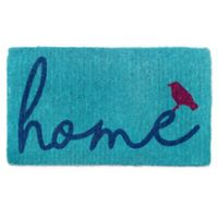 "Fab Habitat 18"" x 30"" A Bird Perched on Home Door Mat in Blue"