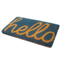 "Fab Habitat Cursive Hello 24"" x 36"" Coir Door Mat in Blue"