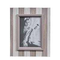 Danya B.™ 5-Inch x 7-Inch Wood Plank Picture Frame in Distressed Grey/White