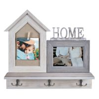 "Danya B.™ ""Home"" Entryway Shelf Picture Frame with Hooks in Grey"