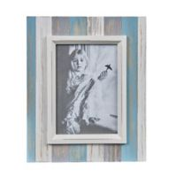 Danya B.™ 5-Inch x 7-Inch Wood Plank Picture Frame in Distressed Blue/Grey/White