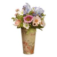 National Tree Company® 17-Inch Garden Accents Artifical Flower Assortment with Tin Vase