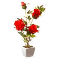 National Tree Company® 15-Inch Artificial Roses Centerpiece with Square Ceramic Planter