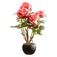 National Tree Company® 16.5-Inch Artificial Pink Roses Plant in Black Ceramic Pot