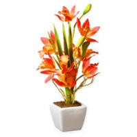 National Tree Company® 13-Inch Artificial Orange Orchids Plant with White Ceramic Pot