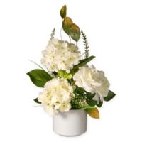 National Tree Company® 9-Inch Artificial Hydrangea and Roses with White Pot