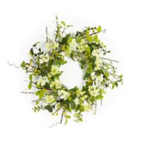 16-Inch Artificial Flowers and Berries Wreath in Green/White