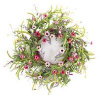 18.5-Inch Wildflower Bloom Artificial Wreath in Green/Pink