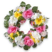 National Tree Company® 18-Inch Artificial Daisy and Rose Wreath in Pink