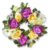 National Tree Company® 18-Inch Artificial Daisy, Rose and Hydrangea Wreath in Purple