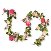 National Tree Company® 72-Inch Artificial Rose and Hydrangea Garland in Pink