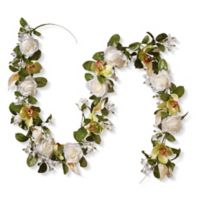National Tree Company® 72-Inch Artificial Cattleya, Calla Lily and Rose Garland in White