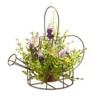 National Tree Company 11.5-Inch Floral Arrangement Centerpiece in Wire Tea Kettle