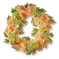 National Tree Company® 24-Inch Peony Artificial Wreath in Cream