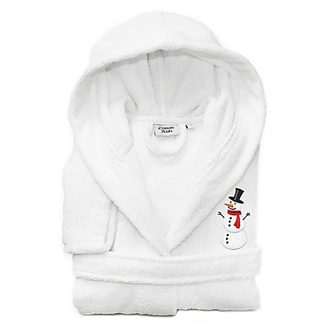 linum kids textiles snowman hooded bathrobe in white bed. Black Bedroom Furniture Sets. Home Design Ideas