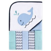 Luvable Friends® 6-Piece Whale Hooded Towel and Washcloth Set in Blue