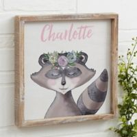 Woodland Raccoon Floral 12-Inch x 12-Inch Barnwood Frame Wall Art