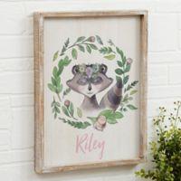 Woodland Raccoon Floral 14-Inch x 18-Inch Barnwood Frame Wall Art