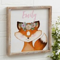 Woodland Floral Fox 12-Inch x 12-Inch Barnwood Frame Wall Art