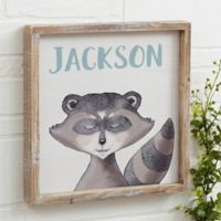 Woodland Raccoon 12-Inch x 12-Inch Barnwood Frame Wall Art