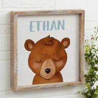 Woodland Bear 12-Inch x 12-Inch Barnwood Frame Wall Art