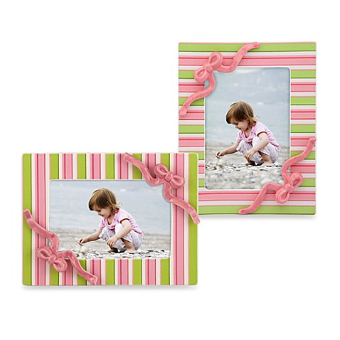 Gorham® Little Girl with a Curl Striped 4-Inch x 6-Inch Picture Frame