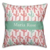 Designs Direct Cactus Print Throw Pillow in Pink/Teal