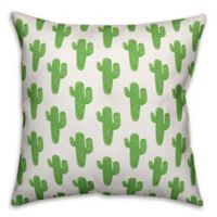 Designs Direct Cactus Throw Pillow in Green Watercolor