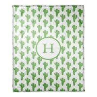 Designs Direct Watercolor Cactus Fleece Blanket in Green