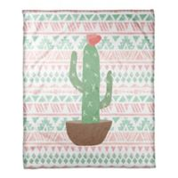 Designs Direct Aztec Cactus Fleece Blanket in Green