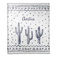 Designs Direct Watercolor Cactus Fleece Blanket in Blue