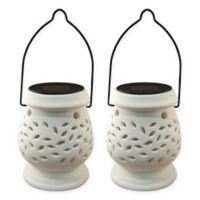 Lumabase Solar Powered Ceramic Lanterns in White (Set of 2)