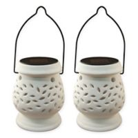 Lumabase Solar Powered Ceramic Lanterns in White (Set of 2)