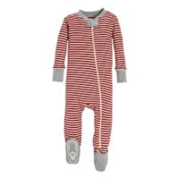 Burt's Bees Baby® Newborn Candy Cane Stripe Holiday Footed Pajama in Red