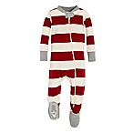 Burt's Bees Baby® Size 0-3M Rugby Stripe Holiday Footed Pajama in Red/Ivory