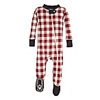 Burt's Bees Baby® Size 0-3M Buffalo Check Holiday Footed Pajama in Red/Ivory