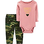 carter's® Newborn 2-Piece Daddy's Girl Camo Bodysuit and Legging Set in Pink