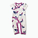 Tea Collection Newborn Blobby Butterflies Short Sleeve Wrap Coverall in White