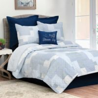Asher Stripe Reversible Twin Quilt Set in Blue