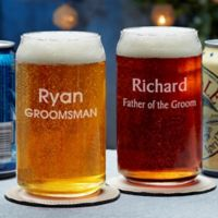 Groomsmen Engraved Beer Can Glass