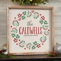 Christmas Wreath 14-Inch x 18-Inch Whitewashed Frame Wall Art