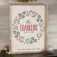 Christmas Wreath 12-Inch x 12-Inch Whitewashed Frame Wall Art