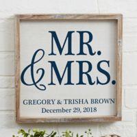 Mr. & Mrs. 12-Inch x 12-Inch Barnwood Frame Wall Art