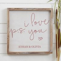 P.S. I Love You 12-Inch x 12-Inch Barnwood Frame Wall Art